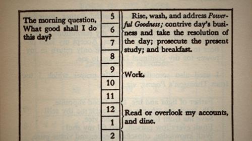 Ben Franklin's daily schedule